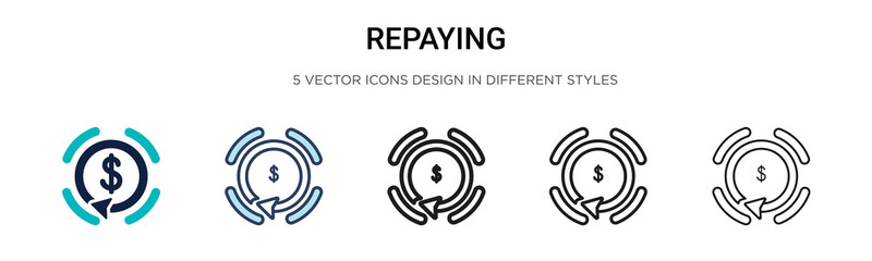Repaying icon in filled, thin line, outline and stroke style. Vector illustration of two colored and black repaying vector icons designs can be used for mobile, ui, web Wall mural