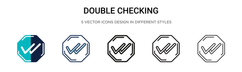Double checking icon in filled, thin line, outline and stroke style. Vector illustration of two colored and black double checking vector icons designs can be used for mobile, ui, web Wall mural