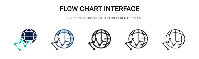 Flow chart interface icon in filled, thin line, outline and stroke style. Vector illustration of two colored and black flow chart interface vector icons designs can be used for mobile, ui, web Wall mural