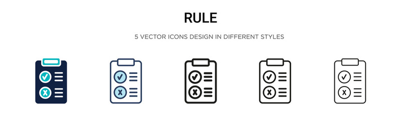 Rule icon in filled, thin line, outline and stroke style. Vector illustration of two colored and black rule vector icons designs can be used for mobile, ui, web