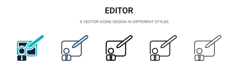 Editor icon in filled, thin line, outline and stroke style. Vector illustration of two colored and black editor vector icons designs can be used for mobile, ui, web Wall mural