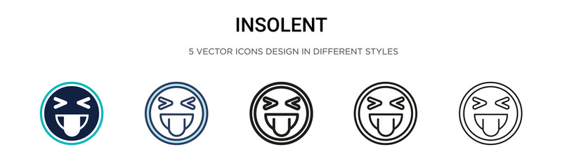 Insolent icon in filled, thin line, outline and stroke style. Vector illustration of two colored and black insolent vector icons designs can be used for mobile, ui, web Wall mural