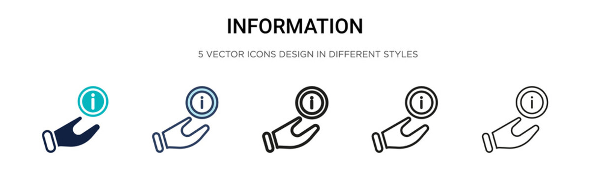 Information signal icon in filled, thin line, outline and stroke style. Vector illustration of two colored and black information signal vector icons designs can be used for mobile, ui, web
