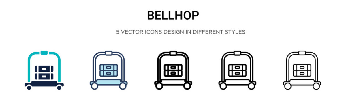 Bellhop icon in filled, thin line, outline and stroke style. Vector illustration of two colored and black bellhop vector icons designs can be used for mobile, ui, web