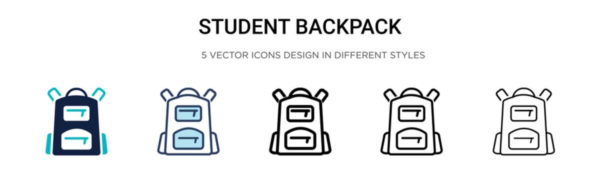 Student backpack icon in filled, thin line, outline and stroke style. Vector illustration of two colored and black student backpack vector icons designs can be used for mobile, ui, web