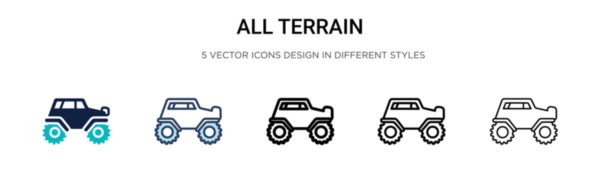 All terrain icon in filled, thin line, outline and stroke style. Vector illustration of two colored and black all terrain vector icons designs can be used for mobile, ui, web