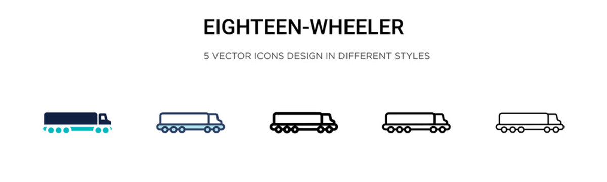 Eighteen-wheeler icon in filled, thin line, outline and stroke style. Vector illustration of two colored and black eighteen-wheeler vector icons designs can be used for mobile, ui, web