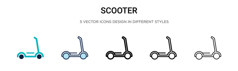 Scooter icon in filled, thin line, outline and stroke style. Vector illustration of two colored and black scooter vector icons designs can be used for mobile, ui, web
