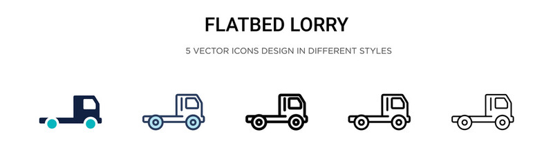 Flatbed lorry icon in filled, thin line, outline and stroke style. Vector illustration of two colored and black flatbed lorry vector icons designs can be used for mobile, ui, web