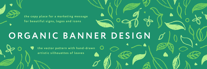 Fototapeta Vector herbal banner with drawings of herbs. Natural cosmetic label. Leaf silhouette for eco store, healthy food. Botanical background for bio pattern, herbal medicine with organic illustrations.