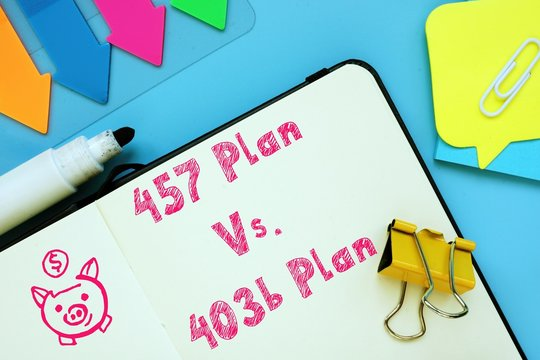 The image contains the inscription 457 Plan Vs. 403b Plan on a notepad sheet.