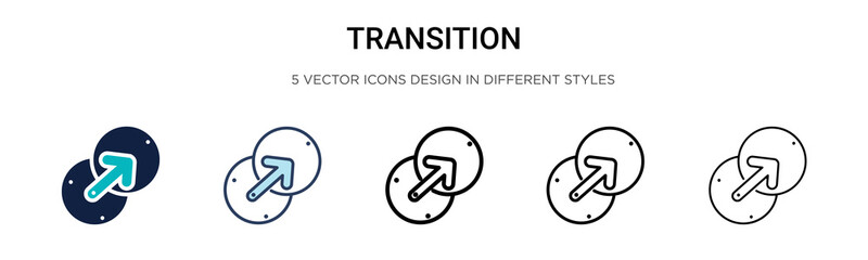 Transition icon in filled, thin line, outline and stroke style. Vector illustration of two colored and black transition vector icons designs can be used for mobile, ui, web