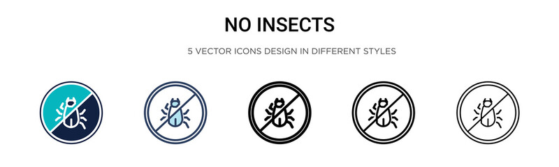 No insects icon in filled, thin line, outline and stroke style. Vector illustration of two colored and black no insects vector icons designs can be used for mobile, ui, web Wall mural