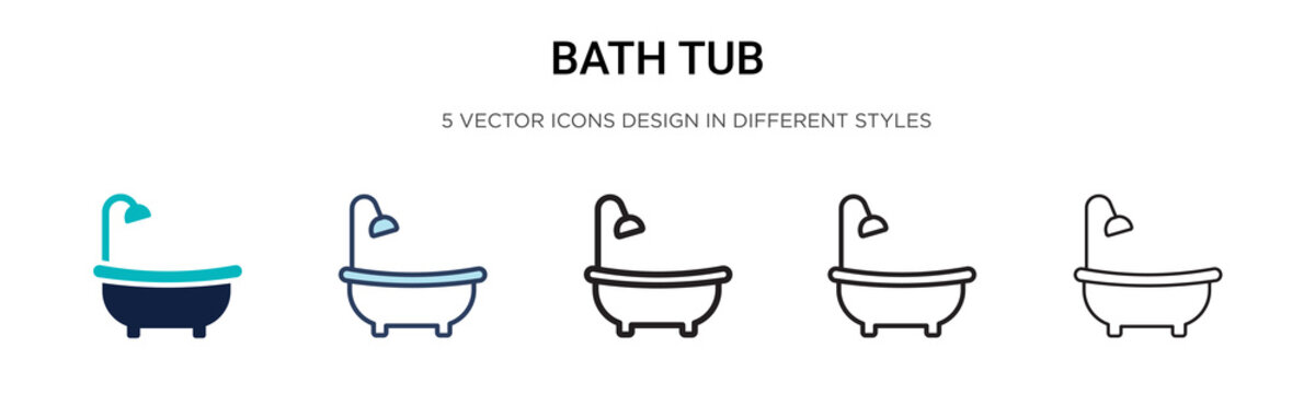 Bath tub icon in filled, thin line, outline and stroke style. Vector illustration of two colored and black bath tub vector icons designs can be used for mobile, ui, web