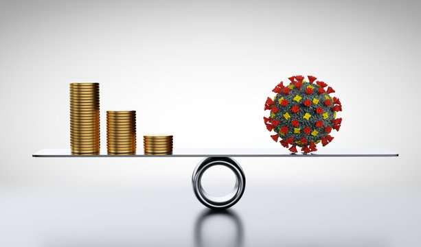 Coins, money and COVID-19 on scale. Concepts of economics against coronavirus