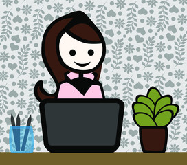 female_character_home office_notebook_plant_wallpaper_pattern_by jziprian