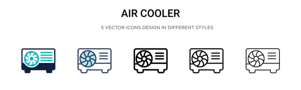Air cooler icon in filled, thin line, outline and stroke style. Vector illustration of two colored and black air cooler vector icons designs can be used for mobile, ui, web