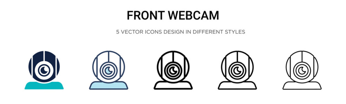 Front webcam icon in filled, thin line, outline and stroke style. Vector illustration of two colored and black front webcam vector icons designs can be used for mobile, ui, web