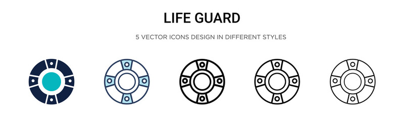 Life guard icon in filled, thin line, outline and stroke style. Vector illustration of two colored and black life guard vector icons designs can be used for mobile, ui, web Fotomurales