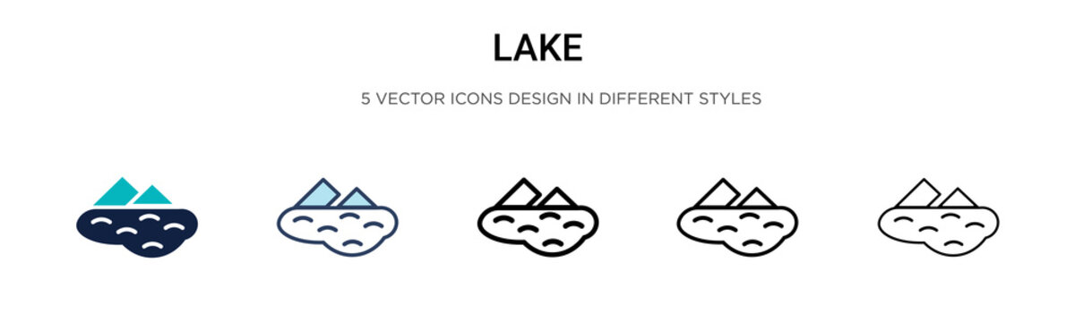 Lake icon in filled, thin line, outline and stroke style. Vector illustration of two colored and black lake vector icons designs can be used for mobile, ui, web