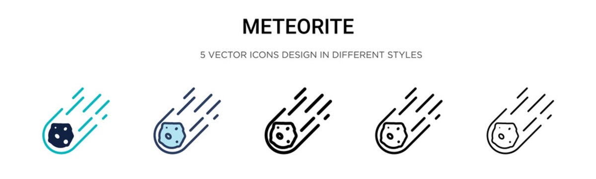 Meteorite icon in filled, thin line, outline and stroke style. Vector illustration of two colored and black meteorite vector icons designs can be used for mobile, ui, web