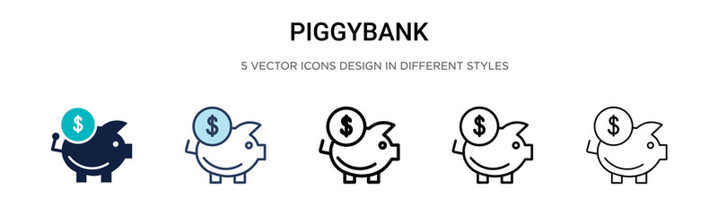 Piggybank icon in filled, thin line, outline and stroke style. Vector illustration of two colored and black piggybank vector icons designs can be used for mobile, ui, web