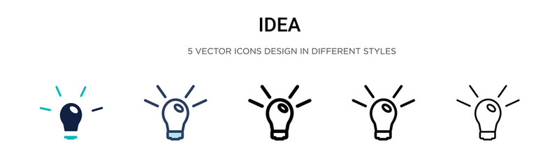 Idea icon in filled, thin line, outline and stroke style. Vector illustration of two colored and black idea vector icons designs can be used for mobile, ui, web Wall mural