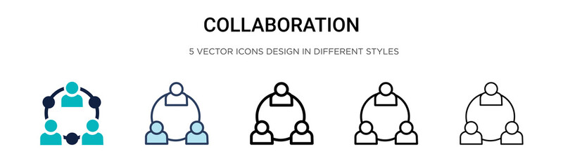 Collaboration icon in filled, thin line, outline and stroke style. Vector illustration of two colored and black collaboration vector icons designs can be used for mobile, ui, web