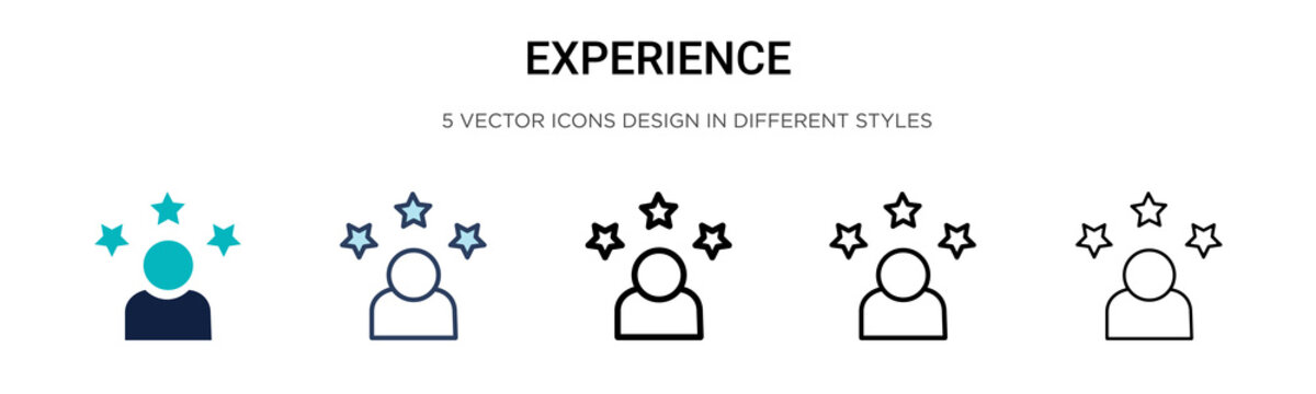 Experience icon in filled, thin line, outline and stroke style. Vector illustration of two colored and black experience vector icons designs can be used for mobile, ui, web