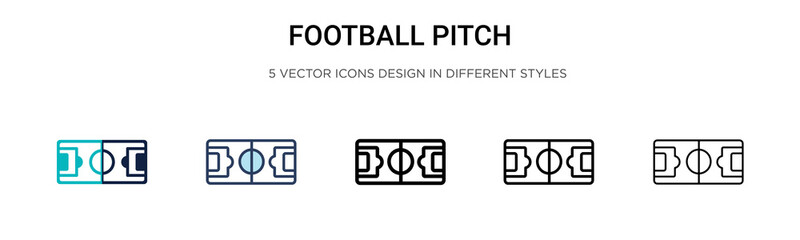 Football pitch icon in filled, thin line, outline and stroke style. Vector illustration of two colored and black football pitch vector icons designs can be used for mobile, ui, web