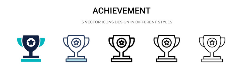 Achievement icon in filled, thin line, outline and stroke style. Vector illustration of two colored and black achievement vector icons designs can be used for mobile, ui, web Fotobehang