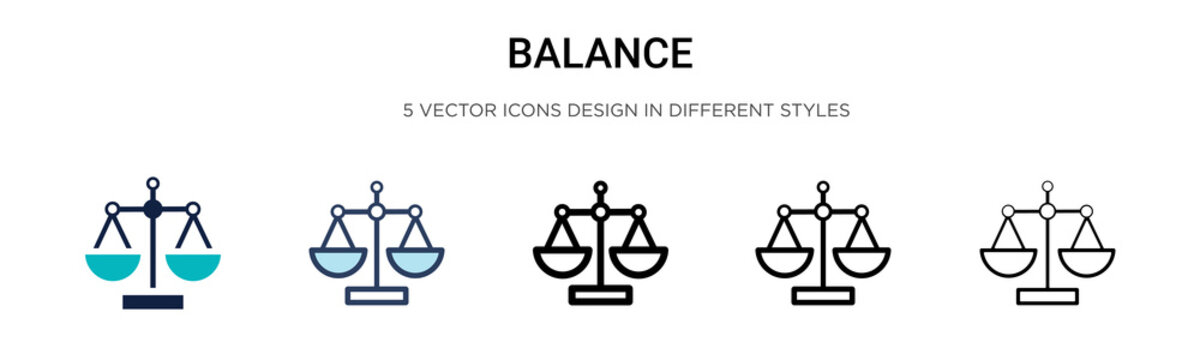 Balance icon in filled, thin line, outline and stroke style. Vector illustration of two colored and black balance vector icons designs can be used for mobile, ui, web