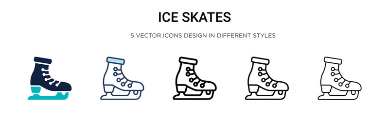 Ice skates icon in filled, thin line, outline and stroke style. Vector illustration of two colored and black ice skates vector icons designs can be used for mobile, ui, web Wall mural