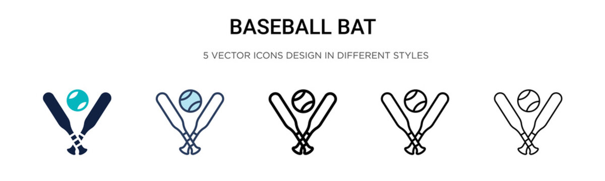 Baseball bat icon in filled, thin line, outline and stroke style. Vector illustration of two colored and black baseball bat vector icons designs can be used for mobile, ui, web