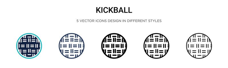 Kickball icon in filled, thin line, outline and stroke style. Vector illustration of two colored and black kickball vector icons designs can be used for mobile, ui, web