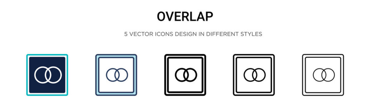 Overlap icon in filled, thin line, outline and stroke style. Vector illustration of two colored and black overlap vector icons designs can be used for mobile, ui, web