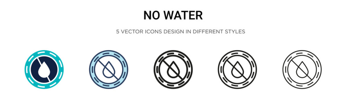 No water icon in filled, thin line, outline and stroke style. Vector illustration of two colored and black no water vector icons designs can be used for mobile, ui, web