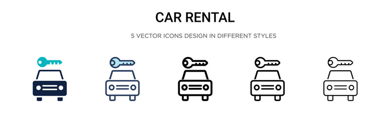 Car rental sign icon in filled, thin line, outline and stroke style. Vector illustration of two colored and black car rental sign vector icons designs can be used for mobile, ui, web