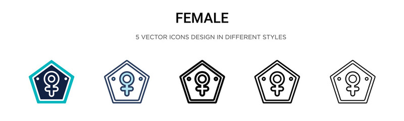 Female symbol icon in filled, thin line, outline and stroke style. Vector illustration of two colored and black female symbol vector icons designs can be used for mobile, ui, web