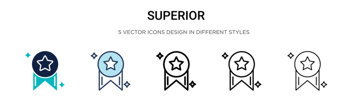 Superior icon in filled, thin line, outline and stroke style. Vector illustration of two colored and black superior vector icons designs can be used for mobile, ui, web