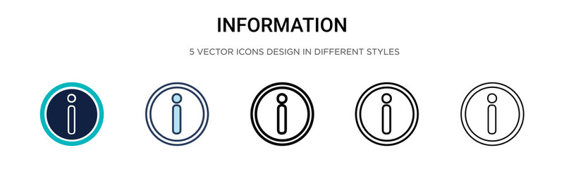 Information sign icon in filled, thin line, outline and stroke style. Vector illustration of two colored and black information sign vector icons designs can be used for mobile, ui, web Wall mural