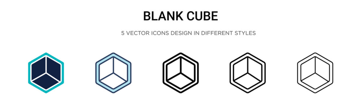 Blank cube icon in filled, thin line, outline and stroke style. Vector illustration of two colored and black blank cube vector icons designs can be used for mobile, ui, web