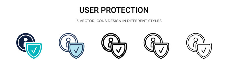 User protection icon in filled, thin line, outline and stroke style. Vector illustration of two colored and black user protection vector icons designs can be used for mobile, ui, web Wall mural