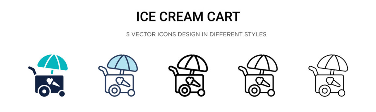 Ice cream cart icon in filled, thin line, outline and stroke style. Vector illustration of two colored and black ice cream cart vector icons designs can be used for mobile, ui, web