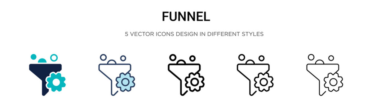 Funnel icon in filled, thin line, outline and stroke style. Vector illustration of two colored and black funnel vector icons designs can be used for mobile, ui, web