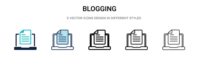 Blogging icon in filled, thin line, outline and stroke style. Vector illustration of two colored and black blogging vector icons designs can be used for mobile, ui, web