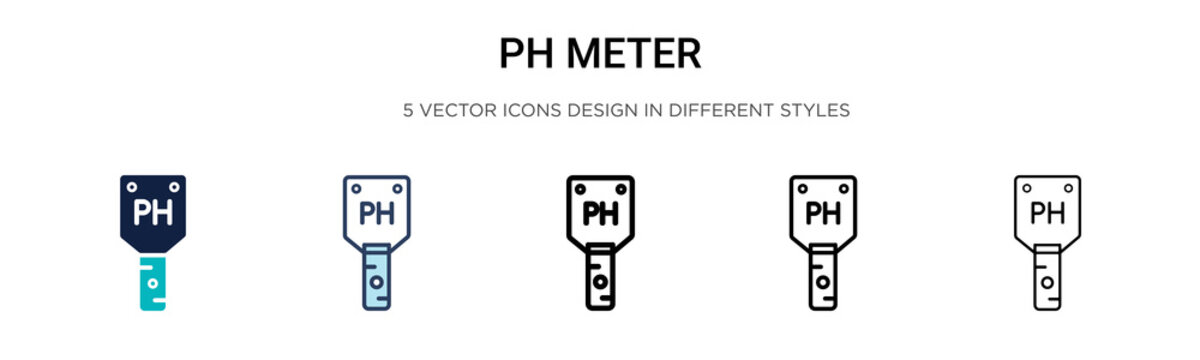 Ph meter icon in filled, thin line, outline and stroke style. Vector illustration of two colored and black ph meter vector icons designs can be used for mobile, ui, web