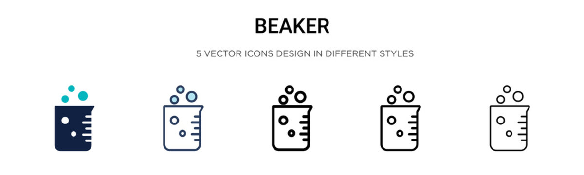 Beaker icon in filled, thin line, outline and stroke style. Vector illustration of two colored and black beaker vector icons designs can be used for mobile, ui, web