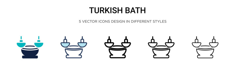 Turkish bath icon in filled, thin line, outline and stroke style. Vector illustration of two colored and black turkish bath vector icons designs can be used for mobile, ui, web Wall mural