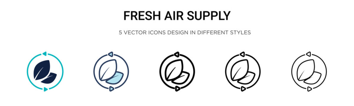 Fresh air supply icon in filled, thin line, outline and stroke style. Vector illustration of two colored and black fresh air supply vector icons designs can be used for mobile, ui, web